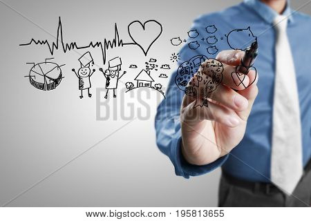 Businessman hand drawing chart heartbeat