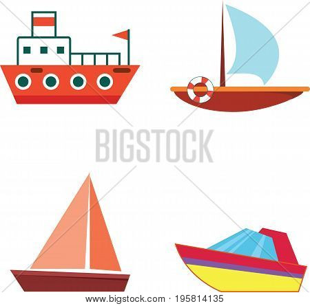 Cartoon boats and ships - isolated flat vector set with icons. Cartoon touristic ships. Illustration for design and decoration.