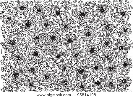 Floral background pattern - coloring page with Mortonia utahensis and Cosmos atrosanguineus mexican flowers. Doodle graphic hand drawn vector illustration for adult coloring book.