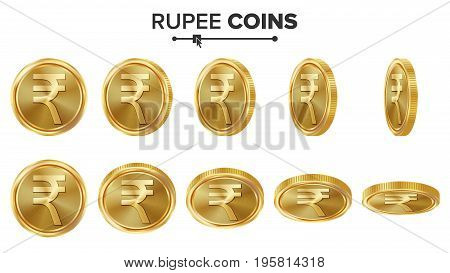 Rupee 3D Gold Coins Vector Set. Realistic Illustration. Flip Different Angles. Money Front Side. Investment Concept. Finance Coin Icons, Sign, Success Banking Cash Symbol. Currency Isolated