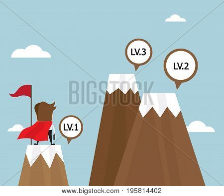 businessman success on top of mountain first level and looking for next level with red flag business vision concept vector illustration