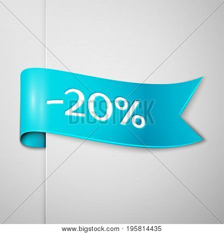 Realistic Cyan ribbon with text twenty percent for discount on grey background. Colorful realistic sticker, banner for sale, shopping, market, business theme. Vector template for your design