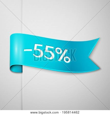 Realistic Cyan ribbon with text fifty five percent for discount on grey background. Colorful realistic sticker, banner for sale, shopping, market, business theme. Vector template for your design