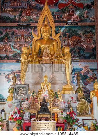 Bang Pakong Thailand - July 16 2017: Interior of Wat Hong Thong a temple built on a concrete platform at the coast of Chachoensao in Thailand after the sea started to reclaim the area of the original temple several decades ago as a result of erosion.