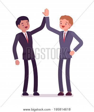 Business partners giving high five. Men hearty greeting each other, celebrate victory, mutual cooperation. Office etiquette concept. Vector flat style cartoon illustration, isolated, white background