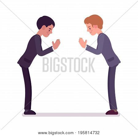 Business partners giving a bow. Men in formal wear greeting in Japanese manner protocol, polite salutation. Office etiquette concept. Vector flat style cartoon illustration, isolated, white background
