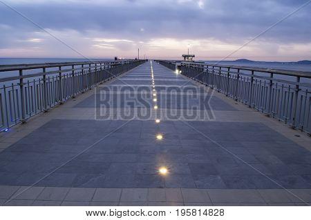 Before Sunrise In Burgas Bay. Bridge In Burgas, Bulgaria. Long Exposure, Blue Hour. Kay Port