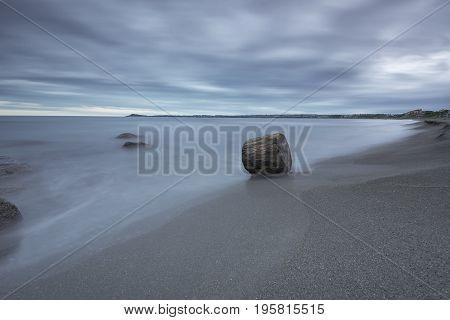 Seascape Before Sunrise In Cloudy Morning. Beautiful Natural Seascape, Blue Hour. Rocky Sunrise. Sea