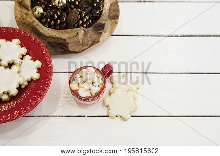 Hot Chocolate With Marshmallow Candies. Christmas Cookies Shaped In Snowflakes And Golden Cones. Whi