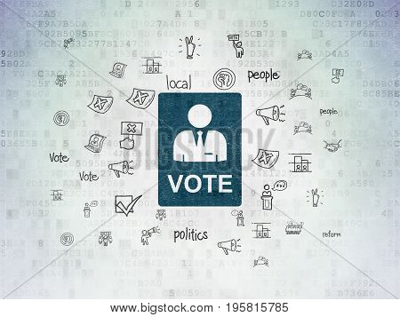 Political concept: Painted blue Ballot icon on Digital Data Paper background with  Hand Drawn Politics Icons