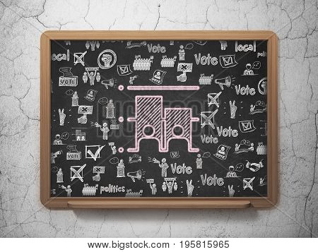 Political concept: Chalk Pink Election icon on School board background with  Hand Drawn Politics Icons, 3D Rendering