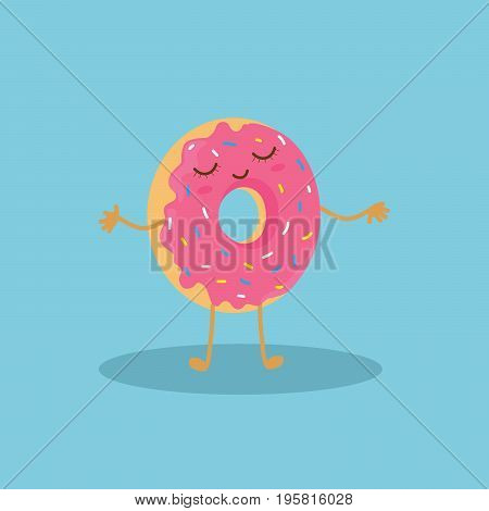 Funny pink donut character wishing you a good day. Vector illustration of cute pink cartoon donut with face on blue background.