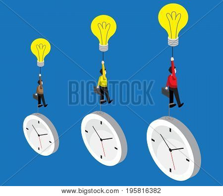 businessman flying by bulb idea and weight with time business concept vector illustration