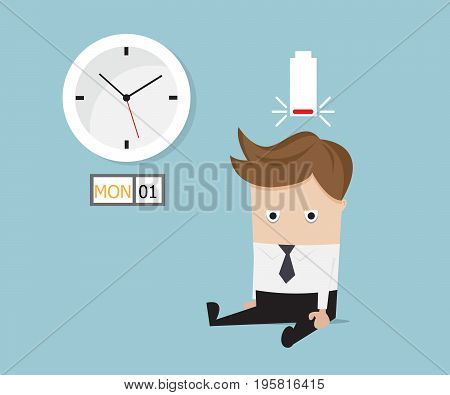 businessman sitting tired and low battery on monday vector illustration
