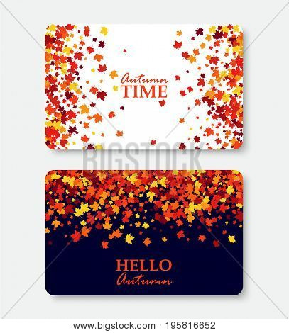 Autumn Time and Hello Autumn greeting cards. Shopping certificate vector illustration with scattered maple leaves. All objects isolated