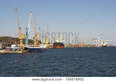 View of the freight port of Setubal Portugal