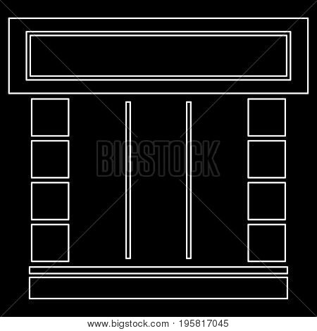 Shopfront White Color Path  Icon .