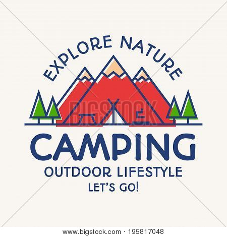 Camping card color line style consisting of mountains, tent, fire and trees for travel badge, tourist symbol, explore emblem, expedition label, hiking sticker, climbing, poster, kids camp