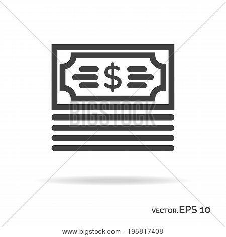Bundle money outline icon black color. Vector Illustration