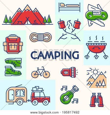 Camping card color line style consisting of camper, mountain, backpack, bicycle, knife, sweet, barbecue, trees, tent for tourist symbol, explore logo, travel badge, expedition label, kids camp