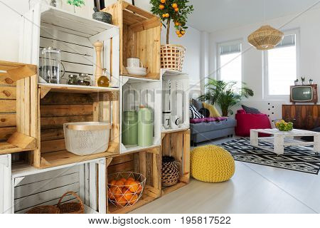 Crate Shelf In Living Room