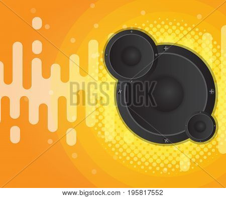 abstract sound wave with speaker and halftone background vector illustration