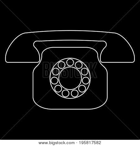 Retro Telephone White Color Path  Icon .