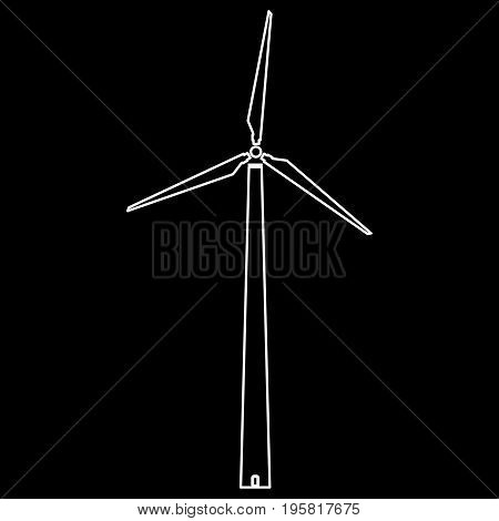Wind Turbine White Color Path  Icon .