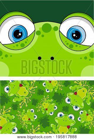 Cute Cartoon Frog in a Cool Pattern