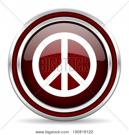 Peace red glossy icon. Chrome border round web button. Silver metallic pushbutton.