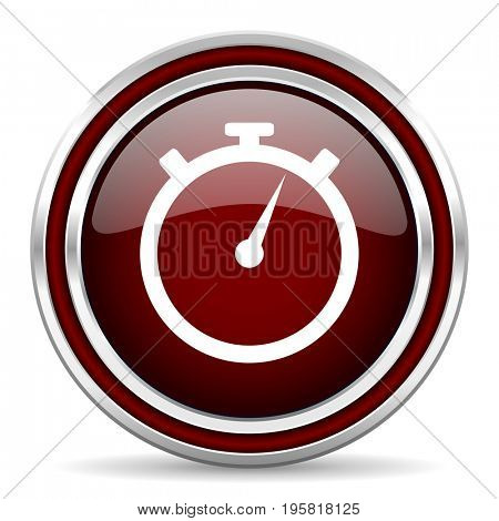stopwatch red glossy icon. Chrome border round web button. Silver metallic pushbutton.