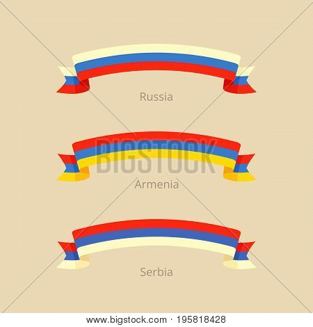 Ribbon With Flag Of Russia, Armenia And Serbia.