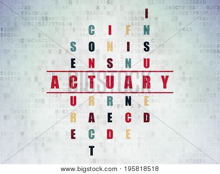 Insurance concept: Painted red word Actuary in solving Crossword Puzzle on Digital Data Paper background