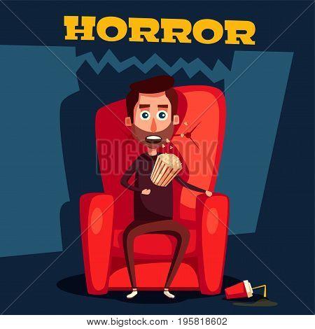 Horror in the cinema. Cartoon vector illustration. Man sitting on the armchair. Feel fear