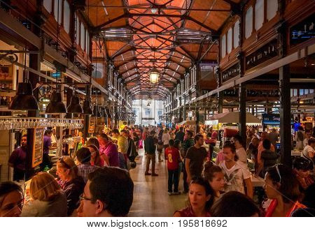 Madrid, Spain - June 1, 2013: Shopping arcade of the famous San Miguel Market in Madrid
