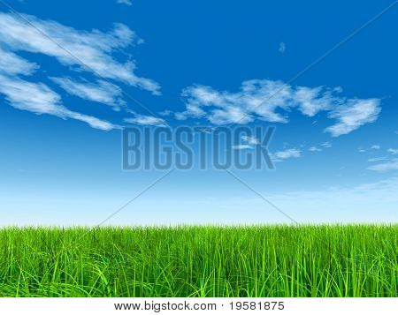 high resolution 3d green grass over a blue sky with white clouds as background and a clear horizon. Ideal for nature,green or sport designs.