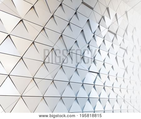 Abstract 3D illustration. modern aluminum facade of triangles