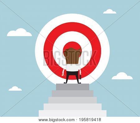 businessman standing in front of big target on top of stairs business concept vector illustration