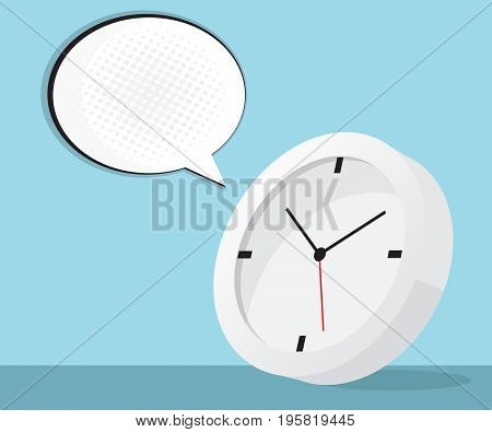 clock icon with speech bubble and halftone background vector illustration