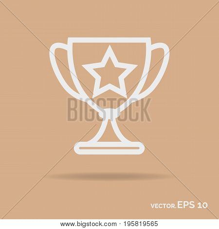 Goblet outline icon white color isolated on background. Vector Illustration