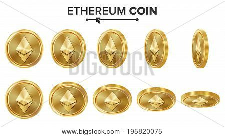 Ethereum Coin 3D Gold Coins Vector Set. Realistic. Flip Different Angles. Digital Currency Money. Investment Concept. Cryptography Coin Icons, Sign. Fintech Blockchain. Currency Isolated