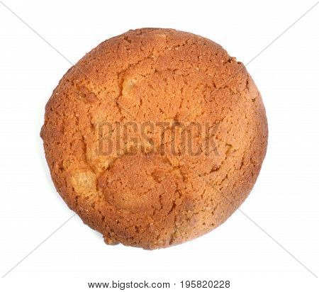Single round ginger biscuit, isolated on a white background. A round oatmeal cookie. Homemade biscuit. Food, culinary, baking and eating concept. Cereal cookie. Bread products.