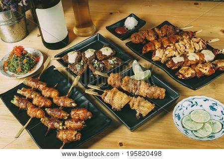 Mixing Of Japanese Food Izakaya Style, Party Set Menu Concept