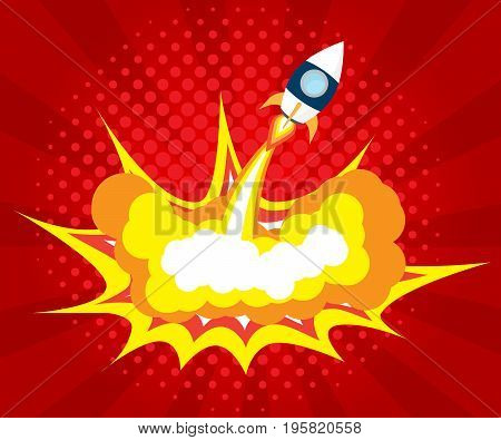 abstract rocket launch boom comic book pop art background vector illustration