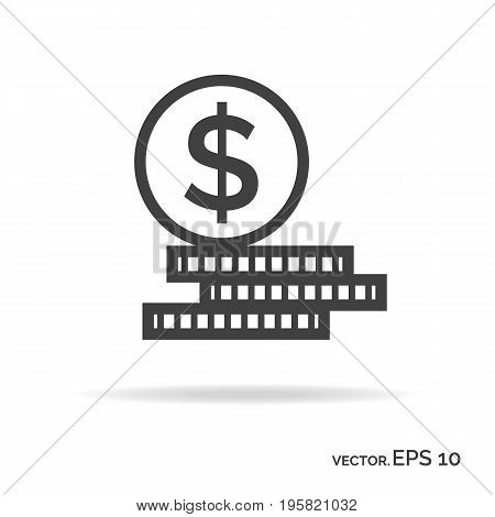 Set of money outline icon black color. Vector Illustration