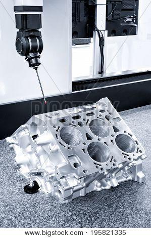 Repair motor block of cylinders operator inspection dimension aluminium automotive par in industrial factory