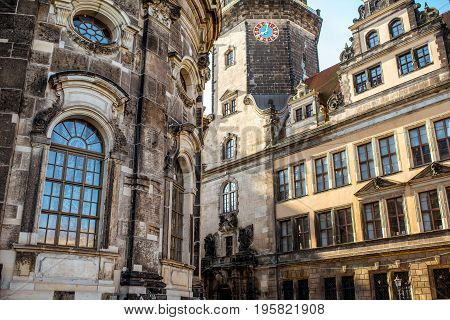 Close-up view on the wall of the old castle and church in Dresden, Germany