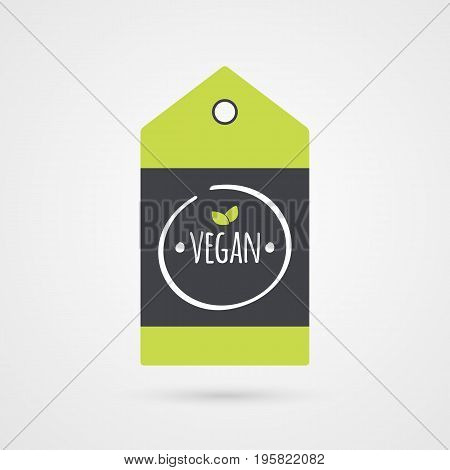 Vegan label. Food icon. Vector green white and gray shopping tag sign isolated. Illustration symbol for product packaging healthy eating lifestyle project advertisement shop menu logo