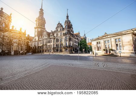 View on the old castle with Hausmannsturm tower in Dresden city during the sunrise in Germany