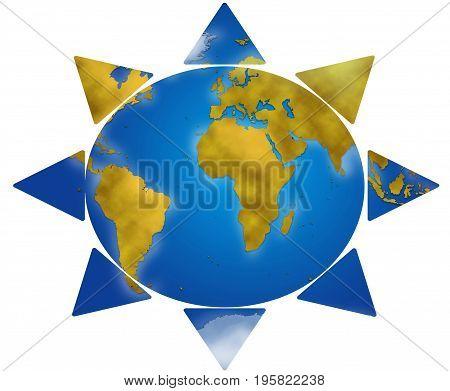 Entire world planisphere in sun shape digital illustration